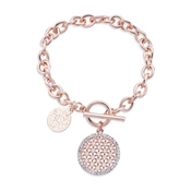 Rose Gold Chunky T-Bar Crystal Bracelet by August Woods