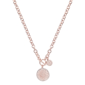 August Woods Rose Gold Chunky T-Bar Crystal Necklace