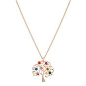 August Woods Rose Gold Rainbow Tree Of Life Necklace
