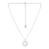 August Woods Silver Crystal Double Heart Necklace