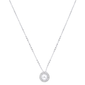 August Woods Silver Crystal Pearl Necklace
