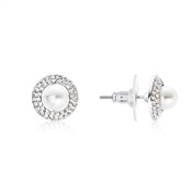 August Woods Silver Crystal Pearl Earrings