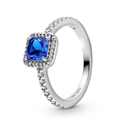 Pandora Blue Square Sparkle Halo Ring