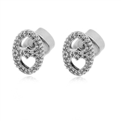 Kate Spade New York Silver Crystal Duo Heart Earrings