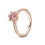 Pink Sparkling Crown Solitaire Ring by Pandora