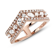 Pandora Rose Sparkling Double Wishbone Ring