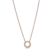 Pandora Rose Crystal Logo Circle Necklace