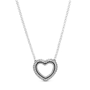 Crystal Snake Chain Open Heart Necklace by Pandora