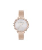 Olivia Burton Rose Gold Bubble Mesh Watch