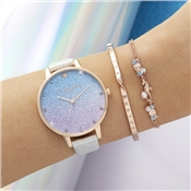 Olivia Burton Rose Gold Glitter Mermaid Watch