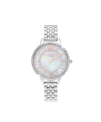 Olivia Burton Silver Mother Of Pearl Wonderland Watch