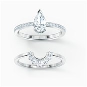 Swarovski Attract Silver Pear Ring Set Size 55