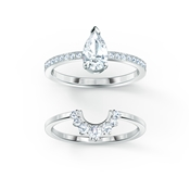 Swarovski Attract Silver Pear Ring Set Size 58