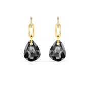 Swarovski T Bar Grey & Gold Medium Earrings