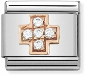 Nomination Rose Gold Crystal Cross Charm