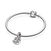 Pandora Family Tree Pink Heart Drop Charm