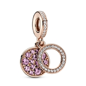 Sparkling Pink Disc Double Drop Charm by Pandora
