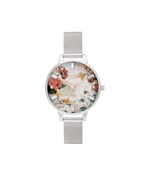 Olivia Burton Floral Mother Of Pearl Silver Mesh Watch
