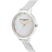 Olivia Burton Mother Of Pearl Silver Mesh Watch