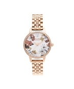 Olivia Burton Rose Gold Sparkle Floral Bracelet Watch