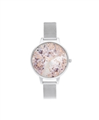 Olivia Burton Silver & Rose Gold Floral Mesh Watch