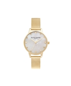 Olivia Burton Mother Of Pearl Pale Gold Mesh Watch