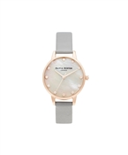 Mother Of Pearl Grey & Rose Gold Watch by Olivia Burton