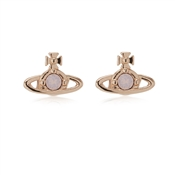 Vivienne Westwood Rose Gold Pink Nano Solitaire Earrings