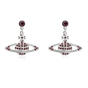 Vivienne Westwood Rhodium Red Mini Bas Relief Drop Earrings