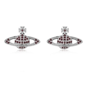 Vivienne Westwood Rhodium Red Mini Bas Relief Earrings