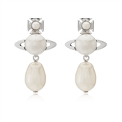Vivienne Westwood Rhodium Cream Inass Earrings