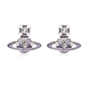 Rhodium Lavender Rodica Earrings by Vivienne Westwood