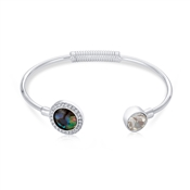 August Woods Silver Abalone Circle Bangle