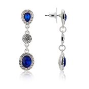 Silver & Blue Crystal Drop Earrings by August Woods