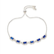 Silver & Blue Crystal Pull Bracelet  by August Woods