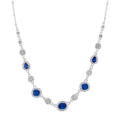 August Woods Silver & Blue Crystal Statement Necklace