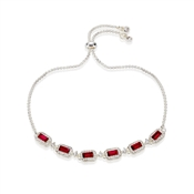 Silver & Red Crystal Pull Bracelet  by August Woods