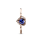 Pandora Rose Sparkling Blue Elevated Heart Ring
