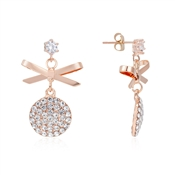 August Woods Rose Gold Crystal Bow Drop Earrings