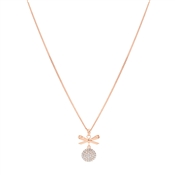 Rose Gold Crystal Bow Necklace by August Woods