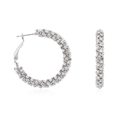 August Woods Silver Crystal Hoop Earrings