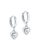Ted Baker Silver Crystal Heart Huggie Earrings