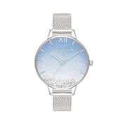 Olivia Burton Wishing Wave Silver Crystal Mesh Watch