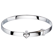 Little Star Gisele Diamond Heart Christening Bangle