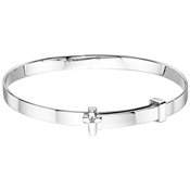 Little Star Honor Diamond Cross Christening Bangle