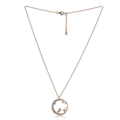 Argento Rose Gold Moon & Star Crystal Necklace