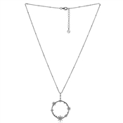 Argento Silver Crystal Star Circle Necklace