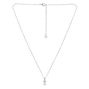 Argento Silver Crystal Solitaire Rectangle Necklace