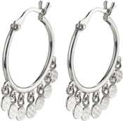 Silver Panna Disc Hoop Earrings by Pilgrim