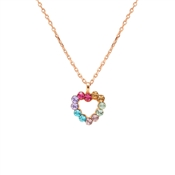 Argento Rose Gold Sparkle Rainbow Heart Necklace